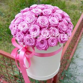 51 розовая роза в коробке