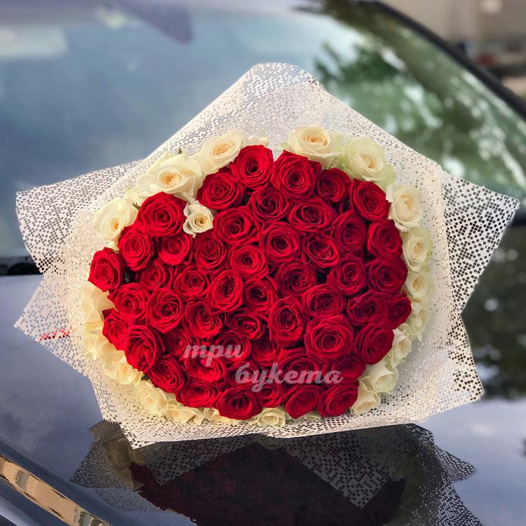 71 роза сердцем