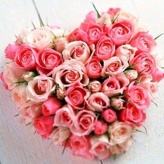 Сердце из 17 роз