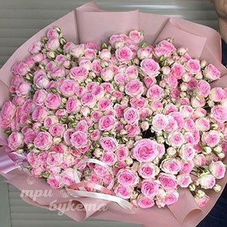 101 кустовая розовая роза 60 см.
