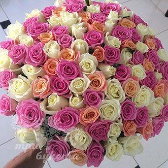 101 разноцветная роза 40 см.