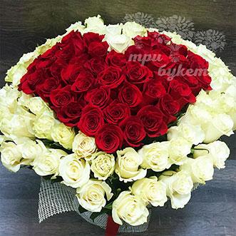 101 роза сердце (Premium) 60 см.
