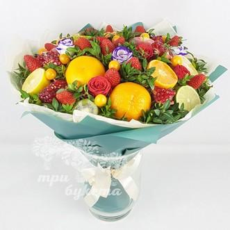 Фруктовый букет с цветами фото
