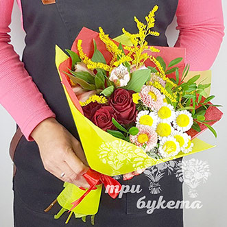 Букет учителю из хризантем и роз