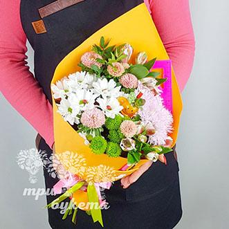 Цветы с канцелярией на день учителя