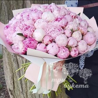 Букет из 61 розового пиона фото