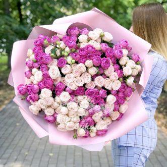 101 розовая кустовая роза