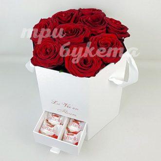9 роз с «Rafaello» в шляпной коробке